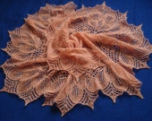 Hand knitted shawl, warm shawl, orange shawl with beads, gift for women, READY TO SHIP