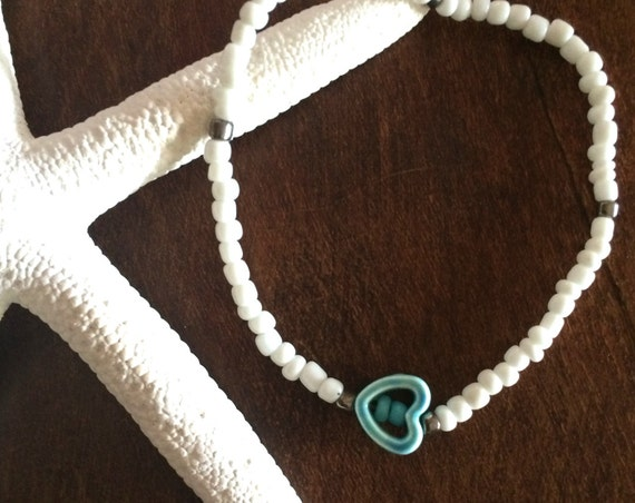 Turquoise Ankle Bracelet White Beaded Stretch Heart Anklet  Wedding Party Gifts under 20 Boho Bracelet Friendship Love Beach Summer Jewelry