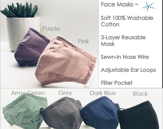 Face Mask Reusable Washable 3 Layer Cotton Face Covering Adjustable Ear Loops Nose Wire Filter Pocket Pink Lavender Grey Blue Black Green