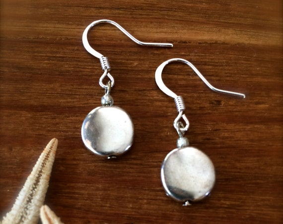Silver Earring  Silver Dangle Drop Pierced Earrings Polished Silver Circle Earring Every Day Finds Gifts for Her Minimalist Summer Jewelry