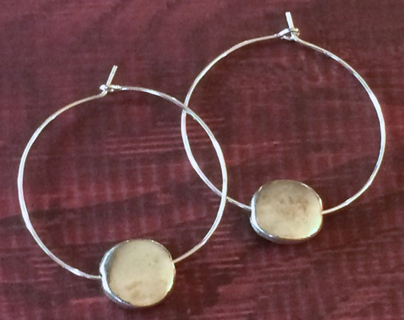 Silver Hoop Earring Silver Disc Dangle Pierced Earring Sterling Silver Circle Earring Every Day Casual Gifts for Her Gifts Under 20 Boho Ear