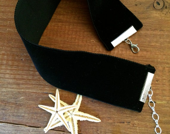 Necklace WIde Black Velvet Choker Witch Cat Vampire Costume Jewelry Festival Choker Pink Beige Boho Necklace Bride Minimalist Summer Jewelry