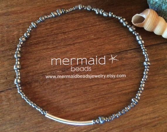 Womens Gift Silver Beaded Stretch Anklet Ankle Bracelet Boho Festival Jewelry Anklet Beach Hematite Silver Bride Bridesmaids Gift