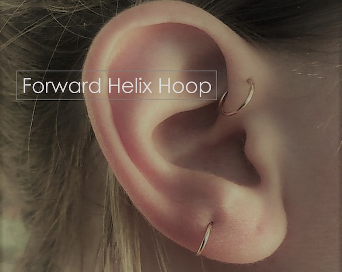 Forward Helix Hoop Earrings Tiny Ring Earring 3mm 4mm 5mm 6mm 7mm 8mm Piercing 22g 20g Tragus Gold Silver Rose Gold Daith Rook Conch Orbital