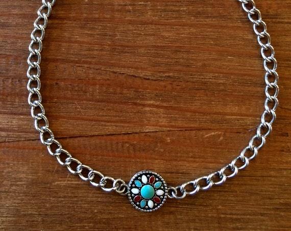 Choker Silver Choker Turquoise Choker Mandala Festival Choker Boho Jewelry Silver Chain Layer Necklace Gift for Her Flower Choker Bracelet
