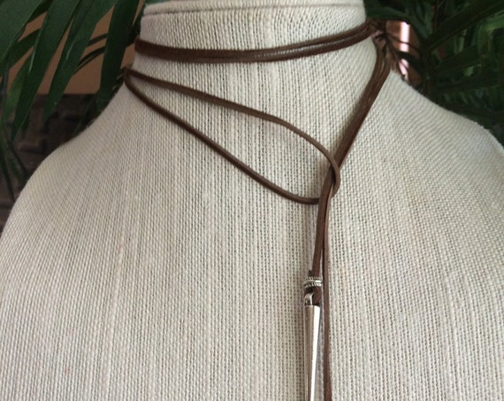 Choker Necklace Leather Vegan Silver Spike Boho Brown Festival Jewelry Bow Tie Choker Gift for Her Under 20 Long Modern Minimalist Dagger