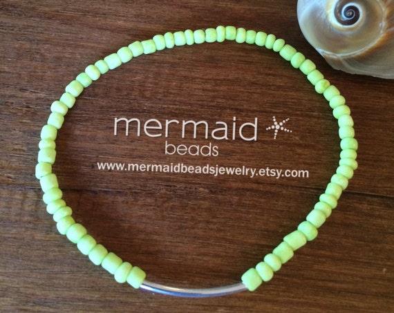 Neon Beaded Stretch Anklet Yellow Ankle Bracelet Boho Anklet Beach Inspired Beaded Anklet Gifts Under 20 Silver Ankle Bracelet Friendship