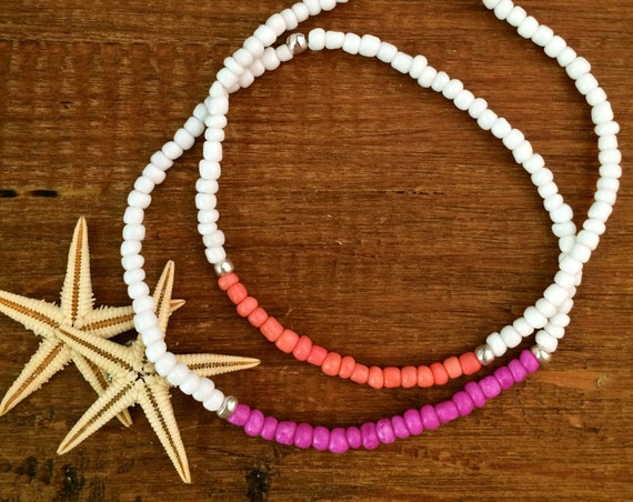 Pride Pink White Red Anklet Gift Stretch Beaded Bracelet Coral Arm Band Boho Beach Surfer Bridesmaid Friendship Summer Gift Bohemian Jewelry