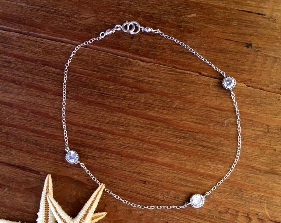 Sterling Silver Bracelet Diamond CZ Anklet  Bridal Gift Mom Sister Bridesmaids Jewelry Delicate Chain Diamonds by the Yard Summer Jewelry