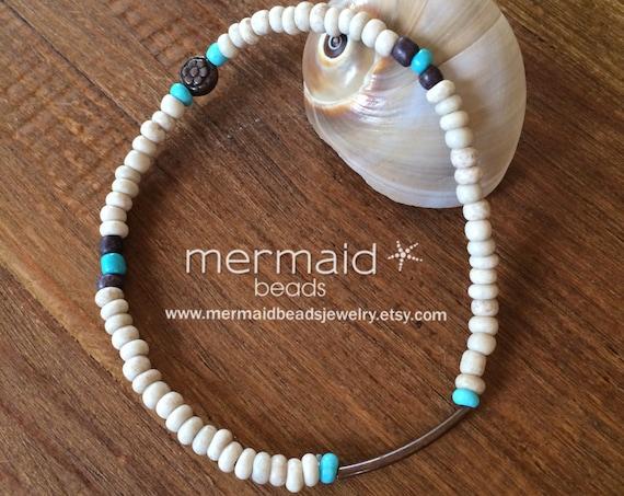 Turquoise Anklet Beaded Stretch Anklet Ankle Bracelet Boho Anklet Beach Inspired Beaded Anklet Copper Ankle Bracelet Summer Jewelry