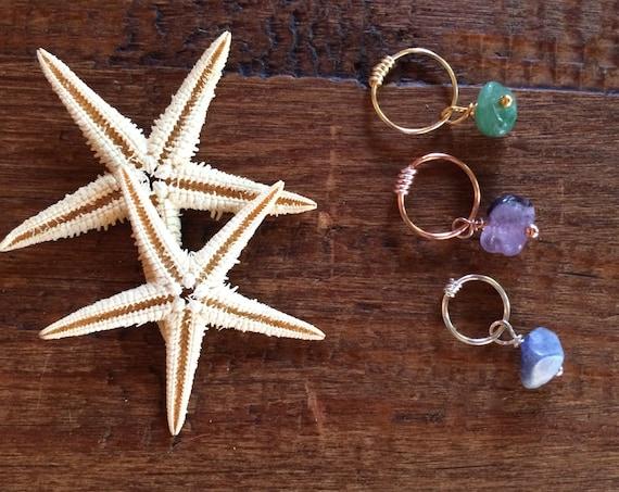 Cartilage Earring Hoop Healing Stone Helix Tragus Gold Silver Rose Lapis Amethyst Aventurine Tiny Nose Piercing Rook Conch Orbital Tragu