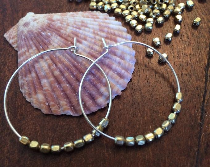Statement Earrings Two Tone Gold Silver Hoop Earring Gold Nugget Beaded Pierced Thin Hoop Gift Woman Beach Wedding Bridal Bridesmaid Modern