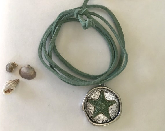 Choker Necklace Unisex Beach Inspired Starfish Leather Vegan Suede Silver Choker Necklace Thin Long Boho Tie Green Wrap Bracelet Gift Ocean