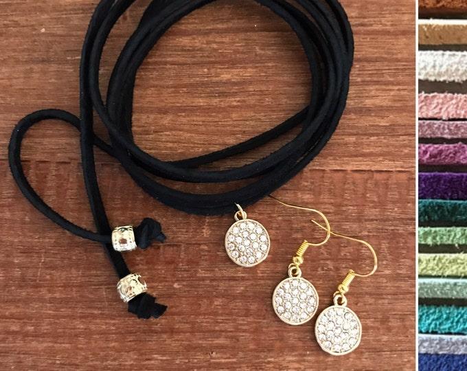 Gold Jewelry Set Leather Vegan Suede Choker Weddings Bridesmaids Matching Earrings Set Diamond CZ Crystal Necklace Bride Bridesmaid Jewelry