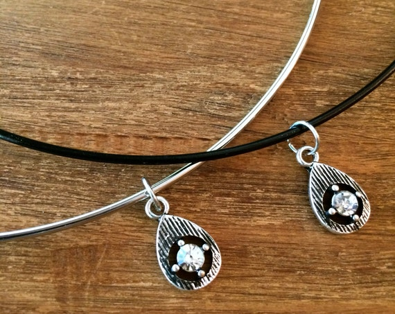 Black Choker Silver Diamond CZ Teardrop Wire Choker Crystal Necklace Beaded Choker Silver Black Statement Necklace Boho Jewelry Tiny Simple