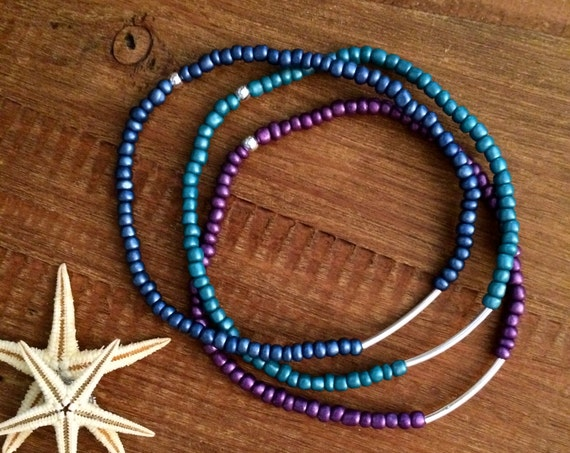 Pride Anklet Stretch Beaded Ankle Bracelet Bridesmaids Gift Arm Band Boho Wedding Party Gifts Custom Beach Blue Teal Purple  Gift