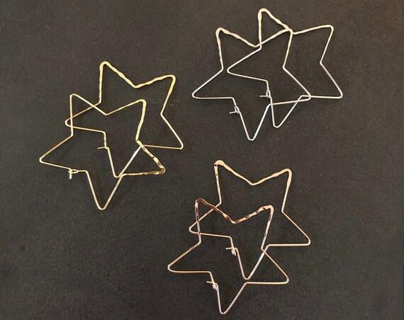 Star Hoop Earrings Large Geometric Hoops Thin Delicate Silver Gold Rose Gold Star Shaped Pierced Earrings Celestial Bohemian Earring