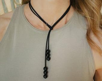 Black Choker Necklace Tie Bolo Lariat Semi Precious Beads Agate Tigers Eye Amazonite Amethyst Lapis Rose Quartz Sexy Gift Woman Girlfriend