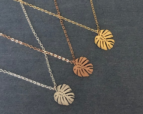Palm Tree Leaf Pendant Necklace Monstera Leaf Jewelry Set  Silver Gold Rose Bracelet Anklet Earrings Tropical Beach Wedding Summer Jewelry