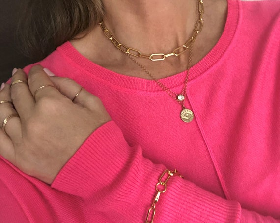 Gold Paperclip Chain Necklace  Chunky Chain Bracelet Anklet Silver Rose Gold Large Link Chain Paper Clip Style Chain Summer Jewelry