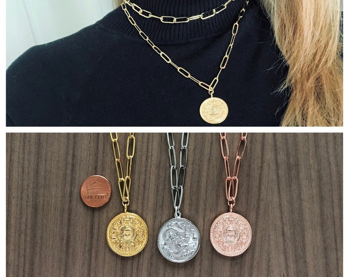 Coin Necklace Paperclip Chain Necklace Chunky Gold Chain Pendant Silver Rose Gold Large Link Chain Buddha Dragon Lucky Coin Paper Clip Chain