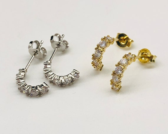 Diamond pave hoops Gold Diamond CZ Hoop Earrings  Silver CZ Cartilage Helix Conch Tragus Daith Rook Earring Summer Jewelry