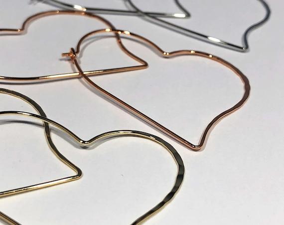 Heart Hoop Earrings Large Geometric Hoops Thin Delicate Silver Gold Rose Gold Heart Shaped Pierced Earrings Love Bohemian Earring Valentine