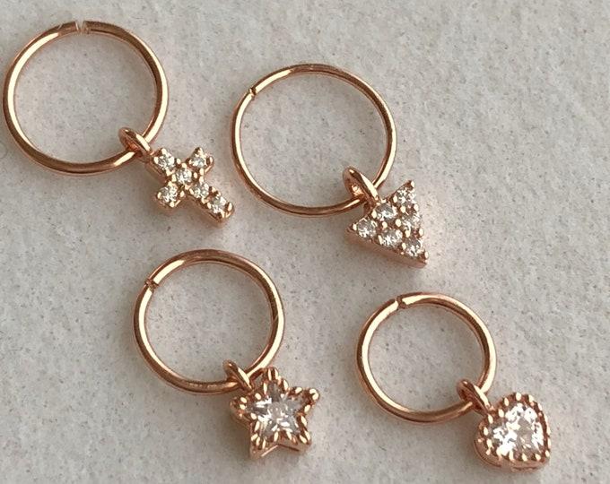 Cartilage Earring Septum Ring Diamond CZ Cross Earring Hoop Heart Star Hoops Daith Earrings Tiny Tragus Helix Piercing Hoops Holiday Gift