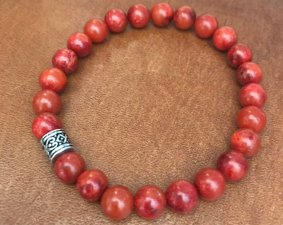 Red Coral Bracelet Beaded Bracelet Beaded Anklet Bohemian Jewelry Lucky Red Gemstone Stretch Bracelet Gift for Woman Man Unisex Friendship
