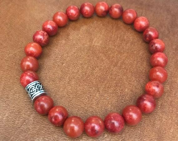 Red Coral Bracelet Beaded Bracelet Beaded Anklet Bohemian Jewelry Lucky Red Gemstone Stretch Bracelet Gift for Woman Man Unisex Friendship