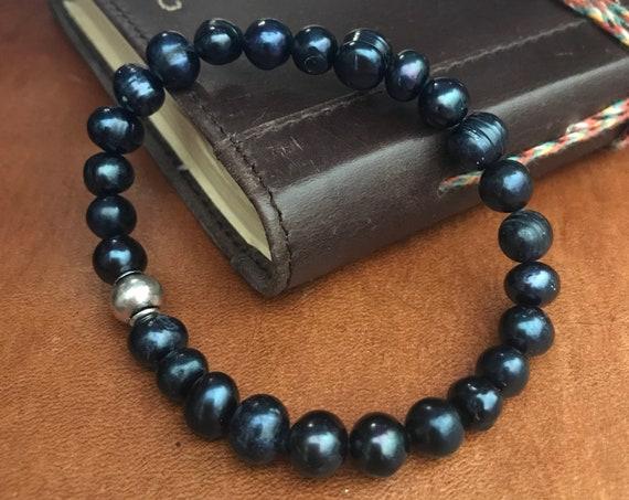 Pearl  Bracelet Blue Freshwater Pearl Bracelet Beaded Bracelet Beaded Anklet Bohemian Jewelry Beach Lover Jewelry Boho Gift Idea Woman Man