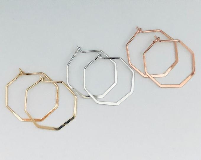 Hoop Earrings Geometric Hoops Delicate Silver Gold Rose Gold Hexagon Shaped Pierced Earrings Minimalist Earring