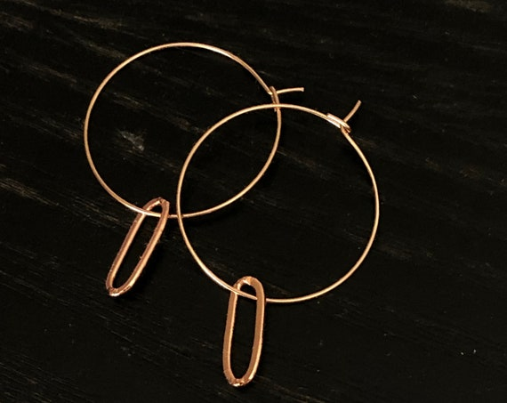 Hoop Earrings Paperclip Chain Oval Minimalist Gold Hoop Earrings Rectangle  Silver Earring Rose GolD Gift For Her Summer Jewelry