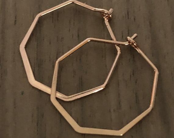 Rose Gold Hoop Earrings  Geometric Hoops Delicate Silver Gold Rose Gold Hexagon Shaped Pierced Earrings Minimalist Earring Summer Jewelry