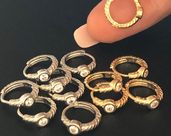 Gold Diamond CZ Hoop Earrings Silver Nose Ring Diamond CZ Hoop Cartilage Septum Helix Tragus Gold Silver Daith Rook Lobe Hoop Earrings