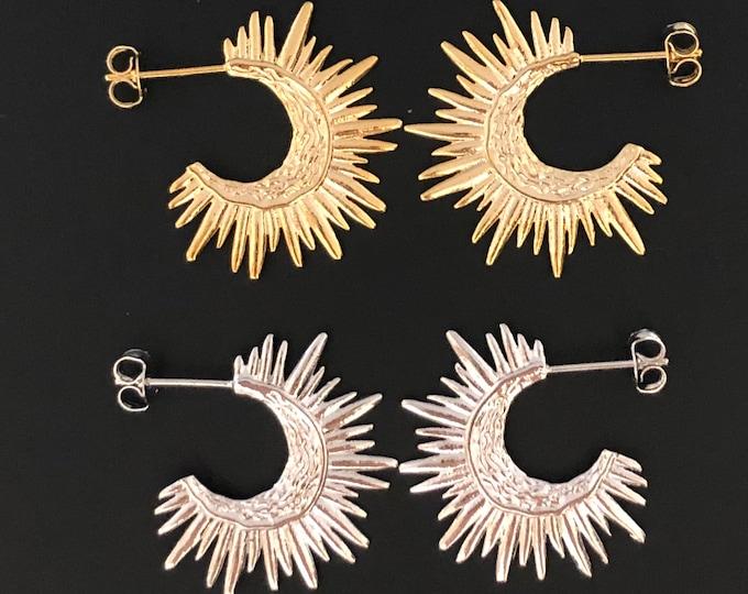 Hoop Earrings Sun Gold Earrings Sol Hoops Starburst Silver Pierced Hoop Earrings