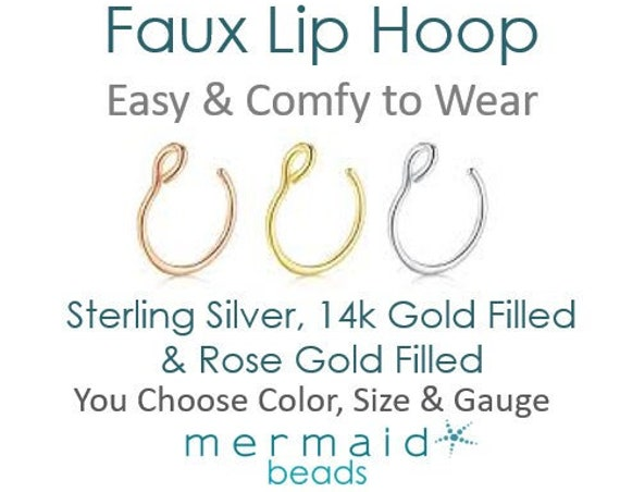 Fake Lip Ring Faux Lip Ring Hoop Women's Gift Idea Fake Gold Hoop Fake Lip Ring Sterling Silver Rose Gold Punk Boho Festival Jewelry Gift