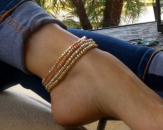Silver Gold Rose Gold Beaded Ankle Bracelet Stretch Anklet Stacking Bracelet Gift Arm Band Boho Anklet Beach Bridesmaid Bridal Weddings Gift