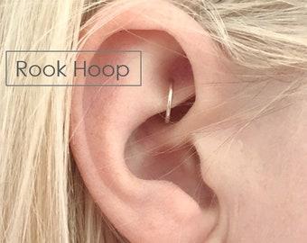 Rook Hoop Earrings Rook Piercing Ring 3mm 4mm 5mm 6mm 7mm 8mm 9mm 10mm  14k Gold Filled Sterling Silver Rose Gold Filled Pierced Hoop