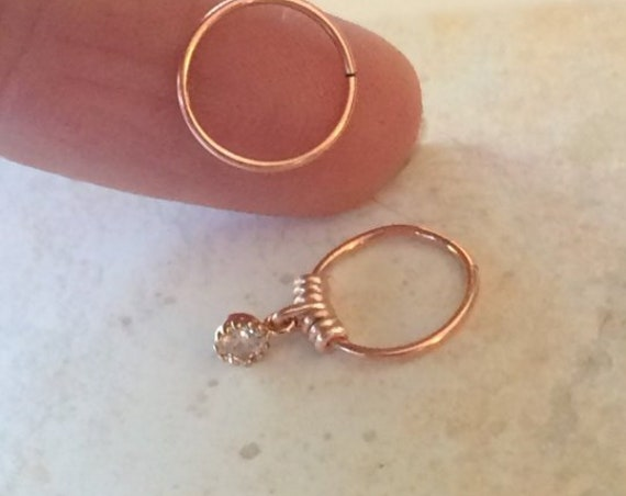 Tiny Gold Silver Cartilage Earring Septum Ring Diamond Crystal CZ Endless Hoop Tragu Hex Helix Nose Lip Conch Rook Orbit Daith Piercing Love