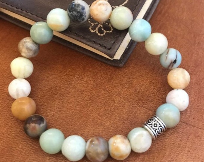 Beaded Bracelet Amazonite Jewelry Beaded Anklet Bohemian Jewelry Lucky Green Gemstone Stretch Bracelet Gift for Woman Man Unisex Friendship