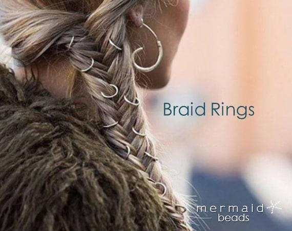 Braid Rings Set Custom Hair Hoops Beach Weddings Boho Jewelry Bohemian Handmade Hair Accessories Bridal Bridesmaids Rose Gold Silver Sexy