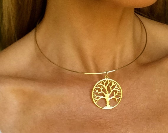 Gold Choker Tree of Life Charm Inspiration Message Family Necklace Mother Daughter Aunt Friendship Grandma Nature Religious Gift Woman Love