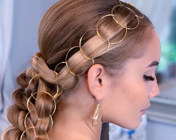 Hair Braid Rings Set Hair Hoops Weddings Hair Ideas Boho Jewelry Bohemian Handmade Hair Accessories Bridal Bridesmaids Rose Gold Silver Sexy