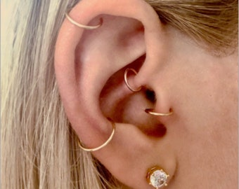Cartilage Earring Daith Hoop Earrings Ear Candy Helix Tragus Endless Hoop Gold Silver Rose Gold Tiny Multiple Piercing Rook Conch Nose Ring