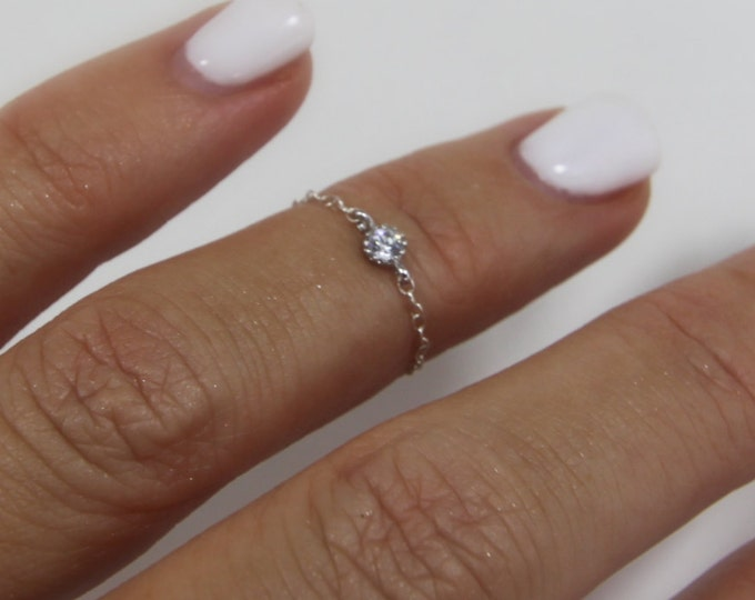Chain Ring Diamond CZ Crystal Ring Midi Ring Knuckle Ring Delicate Gold Filled Sterling Silver Commitment Friendship Gifts for Her Under 25