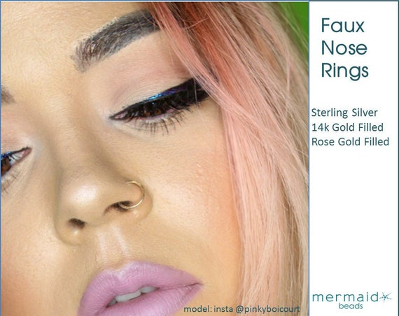 Fake Nose Ring Faux Nose Ring Fake Lip Ring Fake Nose Ring Sterling Silver Gold Rose Gold Custom Boho Festival Body Jewelry Gift Man Woman