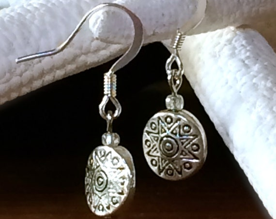 Silver Earring Silver Disc Dangle Drop Sun Engraved Earring  Idea Sterling Soliel Sol Circle Every Day Finds Casual Jewelry Summer Jewelry