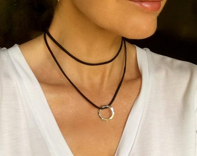 Leather Choker Vegan Suede Circle Charm Choker Necklace Woman Man Black Tan Brown Boho Beach Wrap Bracelet Friendship Girlfriend Gift