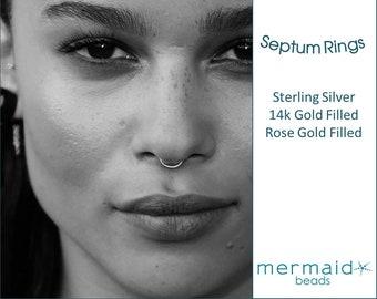 Septum Ring Septum Hoop Gold Sterling Silver Rose Gold Nose Ring Hoop Septum Ring 20g 22g 18g  5mm 6mm 7mm 8mm 9mm Tiny Nose Piercing Hoops
